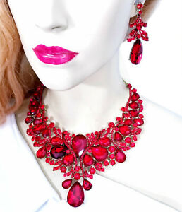 Choker-Bib-Necklace-Earring-Set-Rhinestone-Crystal-Red
