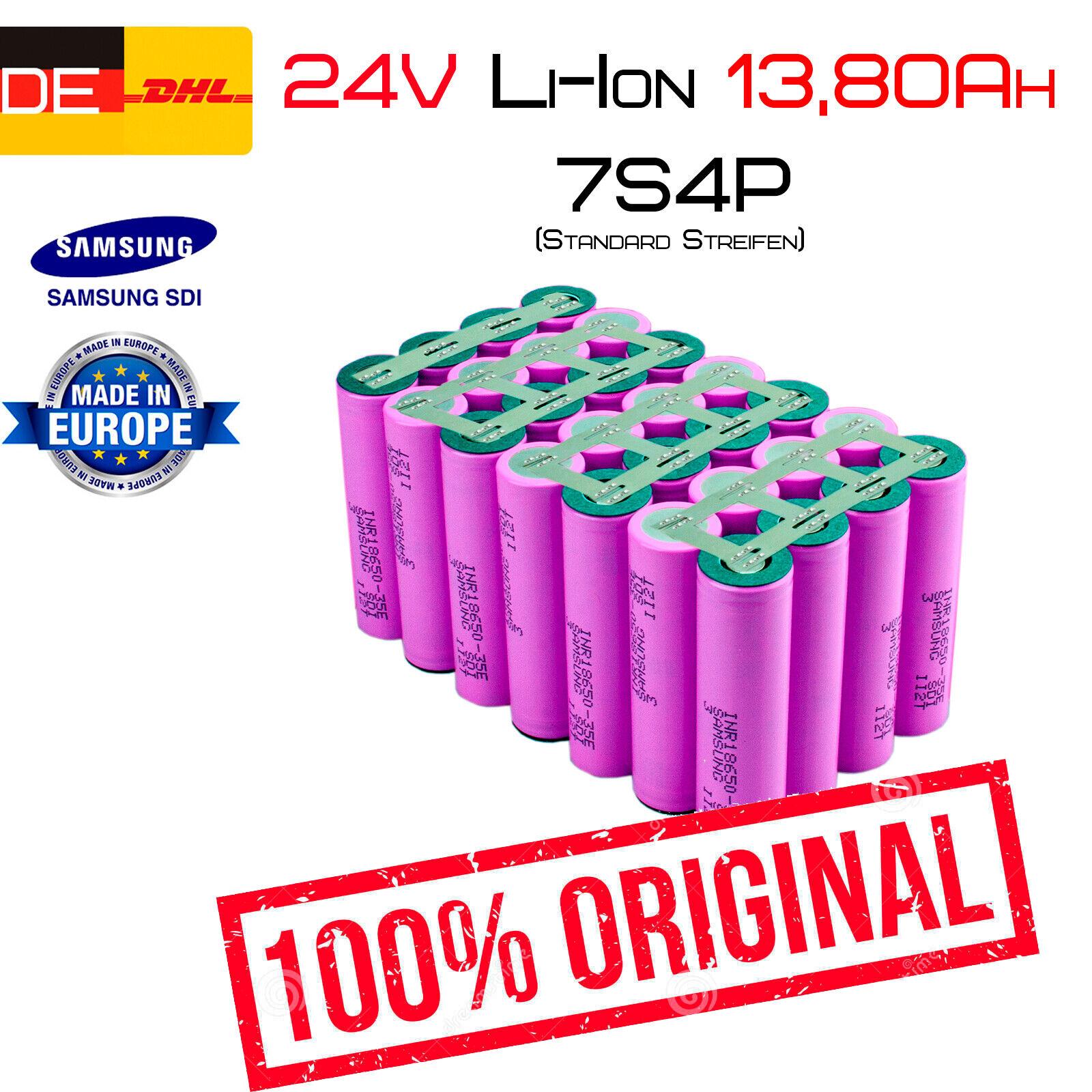 24v 13,80ah Li-ion conjuntos de baterías   7s4p   Samsung inr18650-35e