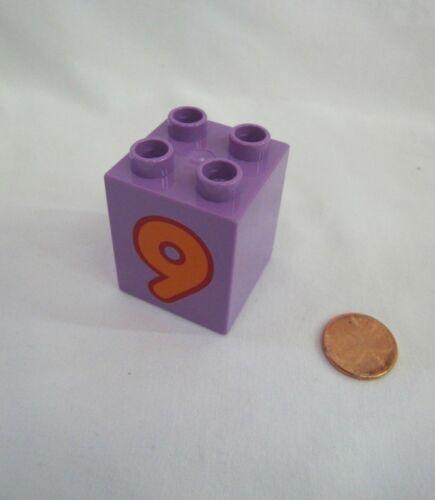 LEGO DUPLO NUMBER #9 Train Replacement 2 x 2 x 2 BLOCK Building Brick Purple