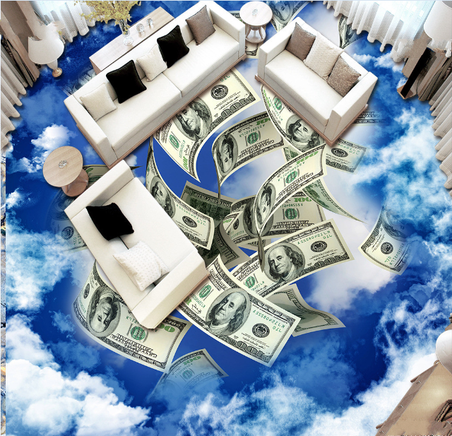 3D 3D 3D Banknote Blau Sky 78 Floor WallPaper Murals Wall Print Decal AJ WALLPAPER US b4c86b