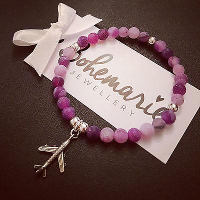 Purple frosted agate plane charm bracelet gemstone bijoux jewellery boho