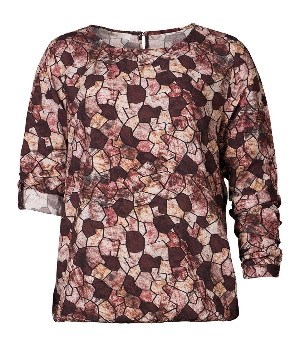 Langarm-ShirtBlause Damen aus Viskose mit Gummizug am Bund Bordeaux Rot Oberteil