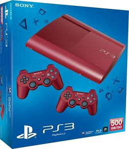 SONY-PS-3-SUPER-SLIM-500GB-2-Controller-rot-Limited-PlayStation-3-NEU