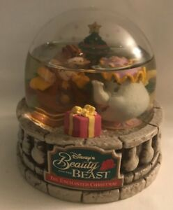 Details About 1997 Disney Beauty And The Beast Snow Globe Ocean Spray Cogsworth And Mrs Potts