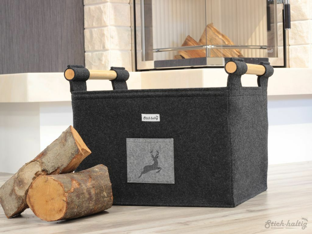 Holzkorb mit Hirsch Filzkorb als Kaminholzkorb für Holz Briketts Pellets LD
