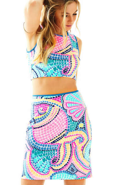 c176be604 Lilly Pulitzer Kennedy Crop Top and Skirt Set Tile Wave Multi Size L ...