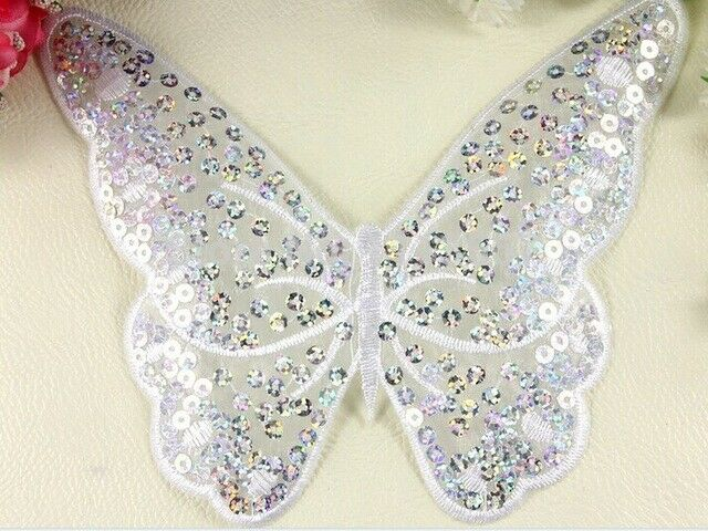 Butterfly Sequined Embroidery Patch DIY Bodice Applique YAGP