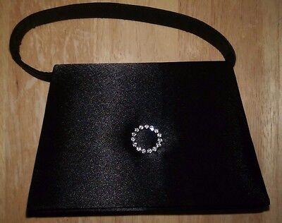 Small Black w/ Fake Diamond Look Circle Evening Bag Handbag