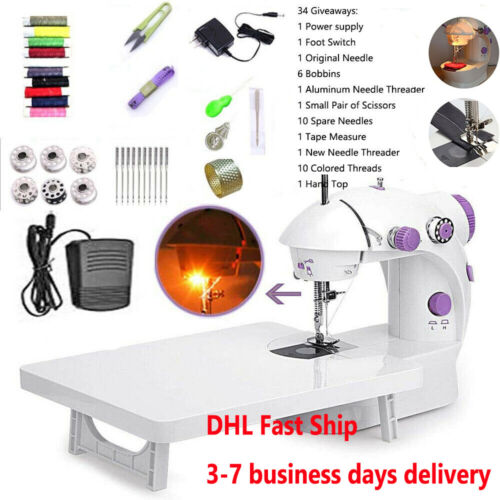 Portable Electric Sewing Machine Desktop Household Tailor LED 2Speed Foot Pedal