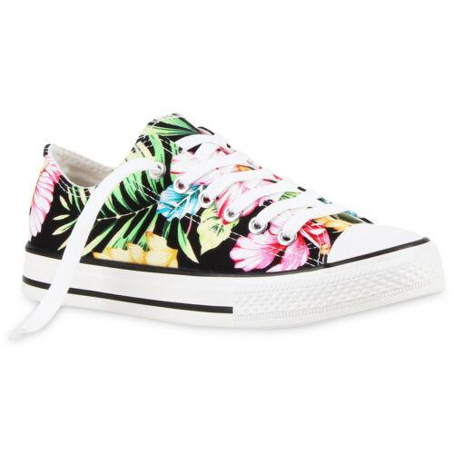 Damen Sneakers Low Blumen Prints Canvas Freizeit 811047 Schuhe