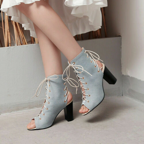 Women/'s High Top Roman Gladiator Denim Sandals Block High Heels Peep Toe Shoes