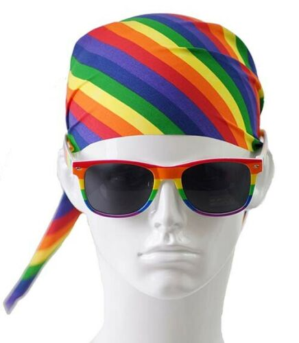LGBT GAY PRIDE RAINBOW BANDANA /& GLASSES Parade-Festivals-Carnival-Fancy Dress