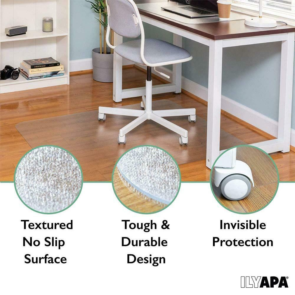 Use in Home or Office on Wood Office Chair Mat for Hardwood Floor MI-7818A Tile 47 x 35.5 Linoleum or Carpet Mount-It Vinyl Clear Computer Chair Floor Protector