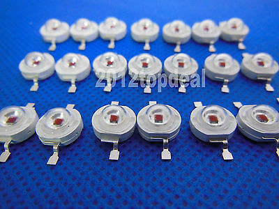 3W 80lm 650-660nm High Power Red 3Watt LED Light Emitter diodes 10PCS