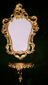 Wall-Mirror-STORAGE-TRAY-CONSOLE-SET-MIRROR-50X76-Antique-Baroque-Gold