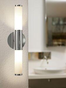 Détails sur Applique murale salle de bain IP44 verre opale double lampe  chrome design 54717