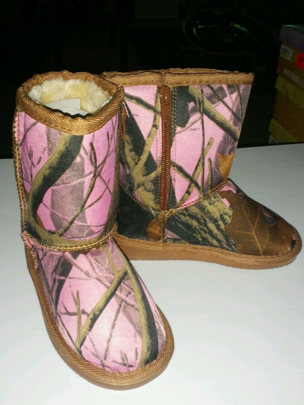 Girls Pink & Brown Mossy Oak Look Boots- Pink Camo Toddler Size 10