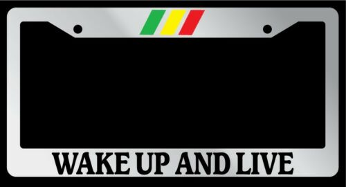 "Chrome License Plate Frame /""Wake Up and Live Bob Marley/"" Auto Accessory Novelty"