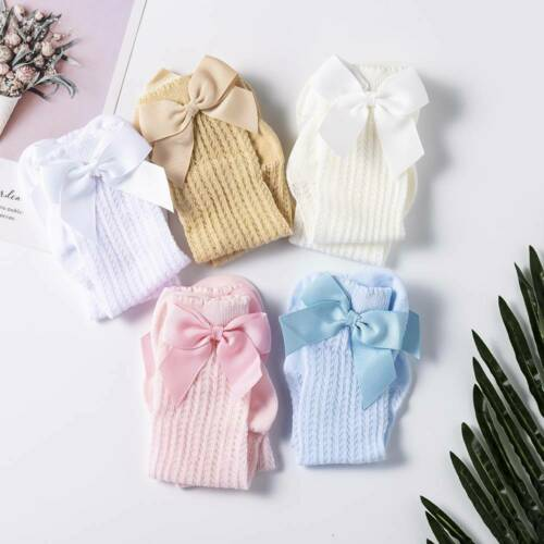 Cute Bowknot Baby Socks Girls Mesh Stockings Kids Infant Toddler Knee High Socks
