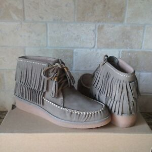 a3173c58dc34 UGG Caleb Mouse Fringe Nubuck Leather Ankle Wedge Boots Booties Size ...