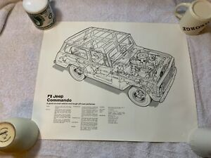 Vintage-1972-Jeep-Commando-Black-and-White-Lithogaph-X-Ray-View-20-by-16-Inches