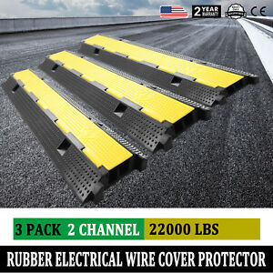 2-Channel-Rubber-Electrical-Wire-Cable-Cover-Ramp-Guard-Warehouse-Cord-Protector