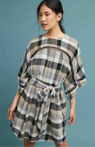 144d2d1abd1a NWT $128 Anthropologie *MAEVE* Tie-Waist Plaid KIMONO TUNIC DRESS ...
