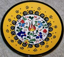 "Turkish Yellow & Black Bordered 5"" Handmade Iznik Floral Pattern Ceramic Plate"