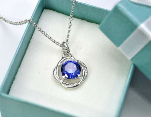 Tanzanite Infinity Collier 8 mm Argent Sterling .925