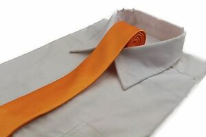CHEAP-5CM-MENS-TANGERINE-TIE-Necktie-Neck-Skinny-Ties-Wedding-Yellow-Orange