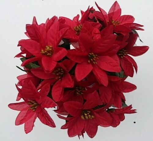 3 RED POINSETTIA BUNCHES ARTIFICIAL FAUX FLOWERS JOB LOT 21 HEADS XMAS
