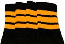 "22"" KNEE HIGH BLACK tube socks with GOLD stripes style 1 (22-51)"