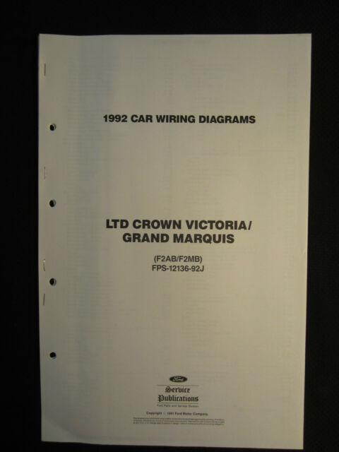 1992 Ltd Crown Victoria Grand Marquis Electrical Wiring