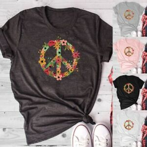 Women-Peace-Shirt-Casual-Short-Sleeve-T-Shirt-Graphic-Tee-Love-Nature-Shirt-Tops