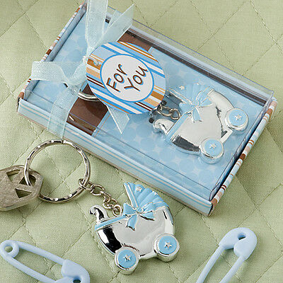 30 Blue or Pink Baby Carriage Key Chain Favors Baby Shower Favor Boy or Girl