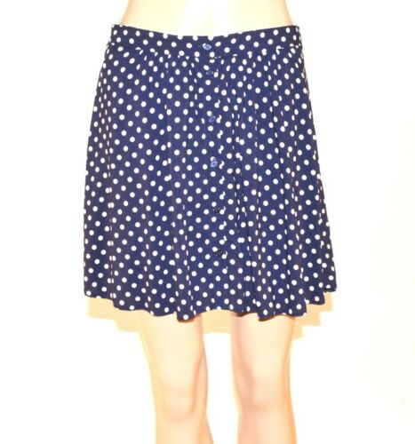 NEW Navy Blue White Polka Dot Spotty Rockabilly Mini Summer Skirt Size 6-20 A44