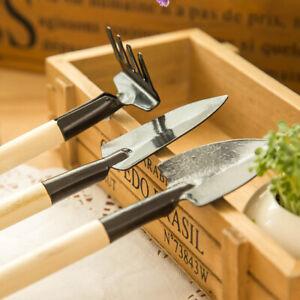 3pcs Mini Plant Garden Gardening Tools Set With Wooden Handle Tool Rake Shovel