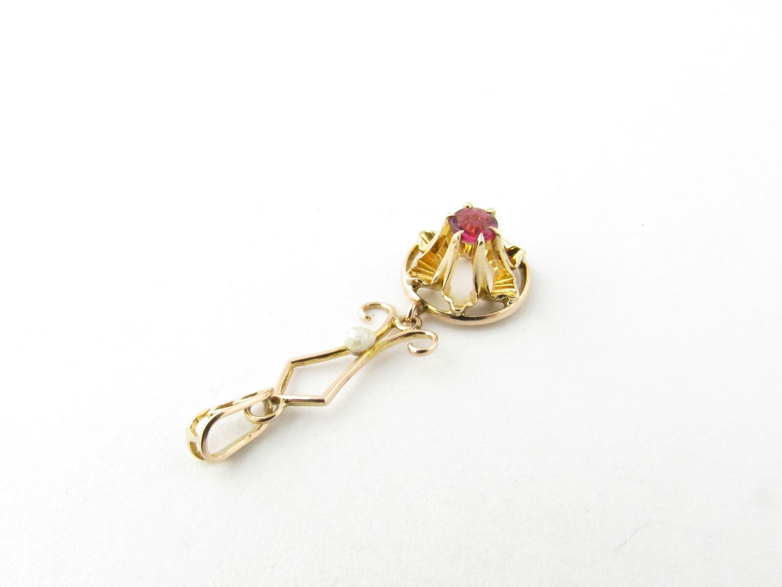 Vintage 10 Karat Yellow Gold Synthetic Ruby and P… - image 3