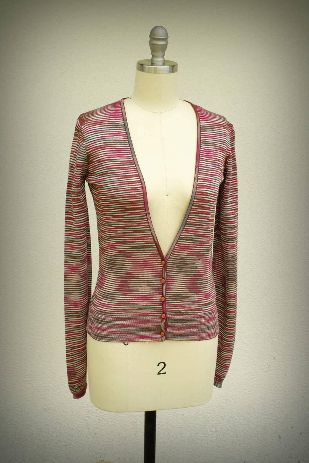 Missoni M Made in  Size 4 4P Optical Art Design Super Deep V Plunge Sweater
