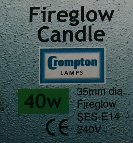 4 PACK Fireglow 40W SES E14 Crompton Red Fire Glow Candle AJ3