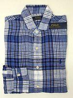 NWT $98 Polo Ralph Lauren Blue Plaid Shirt Mens Size S M L XL XXL Linen SS NEW