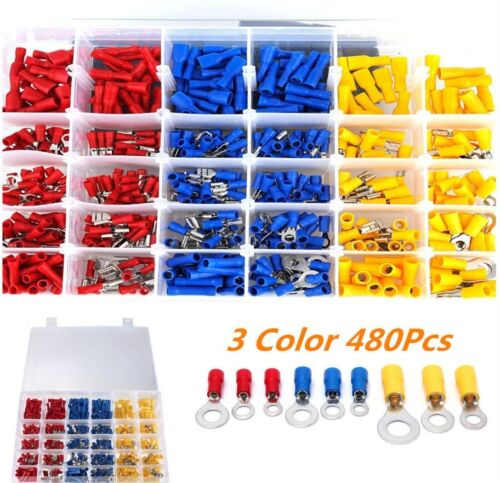 480× Assorted Car Electrical Wire Terminals Insulated Crimp Connectors Spade Kit