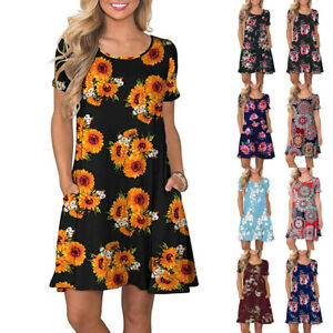 Women-Summer-Short-Sleeve-Floral-Pocket-Sundress-Swing-Short-Mini-Dress-Shirt