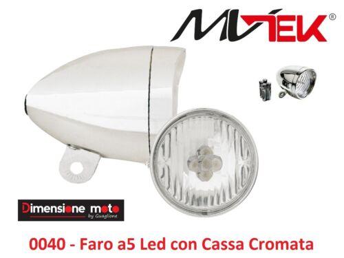 0040 FARO//Fanale Anteriore Vintage Cromato 5 LED per Bici 26-28 R Viaggio bacch