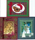 Handmade CROSS STITCH  and REGULAR CHRISTMAS CARDS #CX-O-Lot of 3