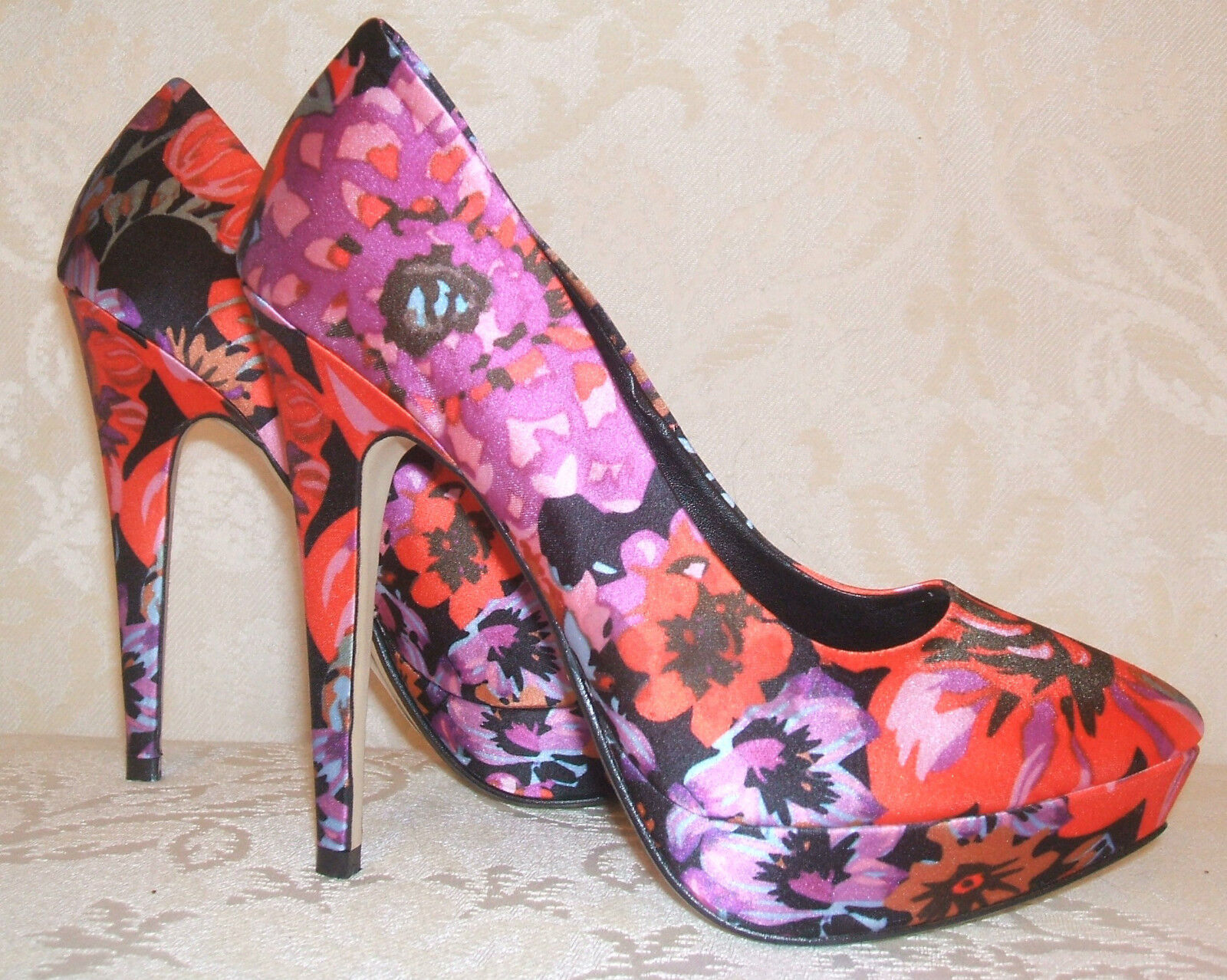 NEW DUNE SIZE 3 4 5 6 7 8 ORCHID ROT LILAC PINK BLACK FLORAL COURT Schuhe
