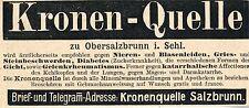 KRONEN- QUELLE  zu Obersalzbrunn i. Schlesien  Historische Reklame von 1899