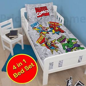 Marvel-Comics-Retro-Junior-Set-Housse-de-Couette-4-IN-1-Literie-Paquet