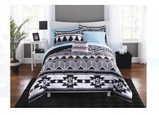 8 Pc Bed In A Bag Comforter Set Bedding Bedroom Tribal Aztec Black White King