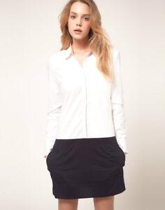 NWT-Designer-VILA-Vero-Moda-Cotton-Shirt-Dress-White-Navy-White-Yellow